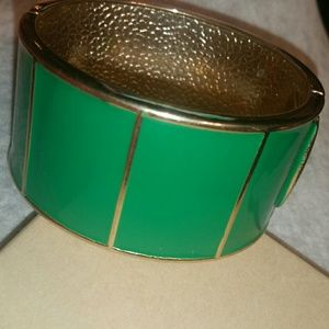Banana Republic Green & Gold Hindged Magnetic Cuff